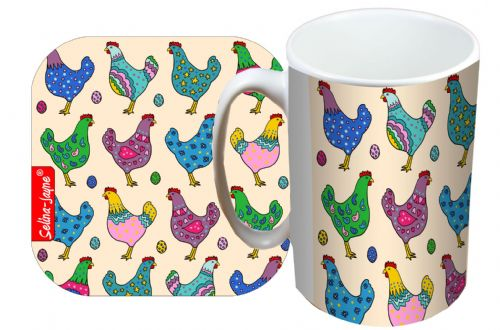 Selina-Jayne Chickens Limited Edition Designer Mug and Coaster Set